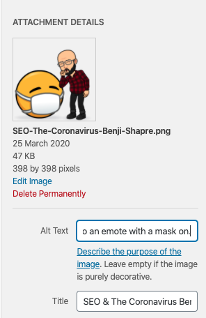 Image of man and emote with image name and alt image text fields being completed